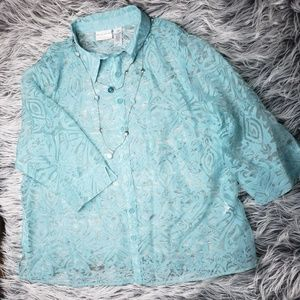 Alfred Dunner Woman Aquamarine Lace
